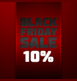 red ribbon with text black friday sale ten percent vector image vector image
