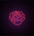 red rose neon sign light flower on brick wall vector image vector image