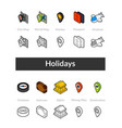 set isometric icons in outline style colored vector image vector image