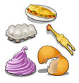set of food products from chicken eggs vector image