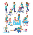 set of mother and baby in different lifestyle vector image