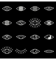 set various eye icons on black background vector image vector image
