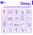 sleep and insomnia color linear icons set vector image vector image