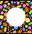sweets circle frame candies lollipop jelly and vector image vector image