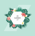 trendy summer banner poster with tropical flowers vector image vector image