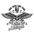 winged racer skull with piston in head design vector image vector image