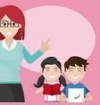woman teacher with school kids vector image vector image