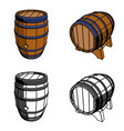 wooden barrel set color perspective vector image