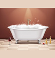 bathtub with foam composition vector image