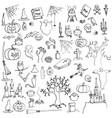 halloween doodle set vector image