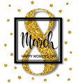 8 march design with gold tinsel international vector image vector image