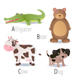 Alphabet with animals from A to D Set 2 vector image