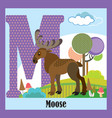 animal alphabet m vector image