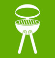 barbecue grill icon green vector image vector image