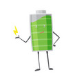 battery man standing and smile charging