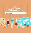 booking search graphic for vacation vector image vector image