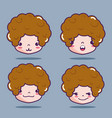 boy head with emotion faces message vector image