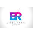 br b r letter logo with shattered broken blue vector image vector image
