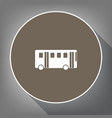 bus simple sign white icon on brown vector image vector image