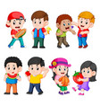 children holding and eating their fruits vector image