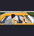 client talking with taxi driver stock vector image vector image