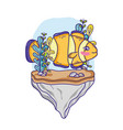 clownfish animal in the stone with seaweed plants vector image