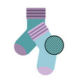 colorful silhouette of pair of socks and circle of vector image