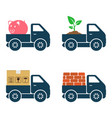 commercial trucks icons delivery various goods vector image vector image