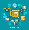 contact us round composition vector image vector image