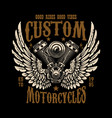 emblem template with winged motorcycle motor vector image vector image