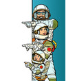 family astronauts mom dad and son point to copy vector image vector image