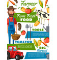 farmer or gardener with cow vegetables tractor vector image vector image