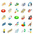 finance center icons set isometric style vector image vector image