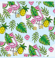 flemish with tropical fruits and leaves background vector image vector image