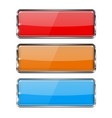 glass buttons rectangle 3d buttons with metal vector image vector image