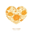 golden art flowers heart silhouette pattern vector image vector image