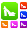 high heel shoes set collection vector image vector image