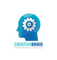 human head and brain process with gear vector image