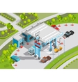 Isometric Composition Of Gas Station vector image vector image