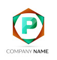 letter p symbol in the colorful hexagonal vector image vector image