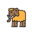 mammoth prehistoric animal flat color line icon vector image vector image