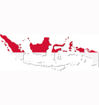 map indonesia with national flag vector image