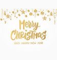 merry christmas card hand drawn lettering golden vector image vector image