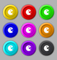 pac man icon sign symbol on nine round colourful vector image vector image