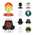 people of different professions cartoonblackflat vector image