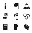 political revolt icon set simple style vector image vector image