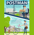 postman poster with post office and mail delivery vector image