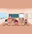 pupils raising hands to answer question teacher vector image