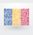 romania flag made up of dots vector image