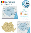 romania maps with markers vector image vector image
